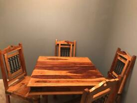 Solid oak table with 4 chairs