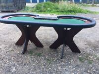 poker table available, easy 2 assemble with butterfly wooden legs, cup holders,slot for chip tray.