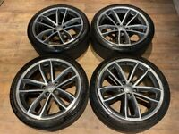 19'' GENUINE AUDI S5 A5 S LINE 5 DOUBLE ALLOY WHEELS TYRES ALLOYS 8W0601025DF 5X112