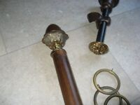 John Lewis wooden curtain pole with metal finials, brackets and brass rings