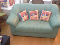 Green Leather 2 Seater Sofa, Lovely & Clean