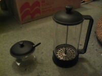 Bodum Cafetiere and Matching Sugar Bowl with Spoon