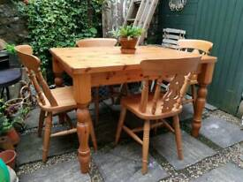 Solid Pine Farmhouse Table & Four Pine Chairs