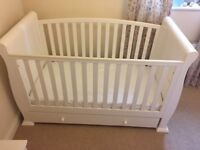 White sleigh cot bed with spring mattress