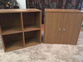 2 x Oak Effect storage units