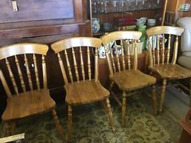 Set Of 4 solid country Farmhouse Pine chairs excellent condition