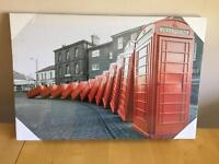 A LOVELY BRAND NEW CANVAS OF TELEPHONE BOXES