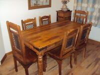 Indian Rosewood Dining Table and Chairs