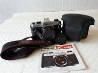 Pentax K-1000 35mm camera with case, strap, bag and filters