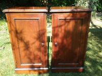 Two solid hardwood bedside cabinets victorian style.