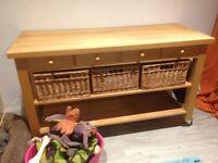 Lambourn 4 drawer beech butchers trolley on wheels - 150cm long