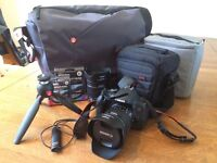 Canon 750d with 18-55, 10-18mm lenses, 32GB SD, Manfrotto travel tripod, carry bag, lens bag + more