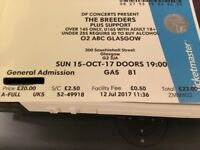 Breeders concert ticket 15/10/2017