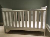 John Lewis cot & mattress (white wood)
