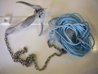 2.5Kg galvanised folding grapnel anchor with 2m of chain and 24m of rope.