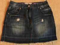 Denim Mini Skirt with Diamante Feature Button - Size 8