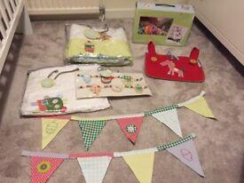 Mamas & Papas Gingerbread nursery set. Curtains, bumper, mobile, bunting, cot tidy.
