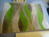 LOVELY RUG 120cm by 170cm shades of GREEN BROWN & BEIGE