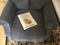 Riser Recliner Chair. Boston petite blue/grey diamond pattern.