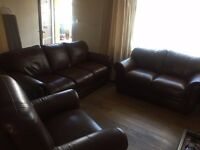 Chunky Brown Leather 3 Piece, 3 Seater, 2 Seater & Recliner Arm Chair