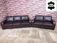 QUALITY EX DISPLAY 'ASTOR' 3 & 2 SEATER SOFAS 100% GENUINE LEATHER BROWN COLOUR SETTEE/SUITE