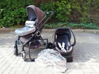 Chicco Urban baby travel system grey pushchair pram car seat rain cover footmuff