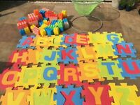 Selection play equipment- alphabet mats, large building blocks like Lego and mini basketball net