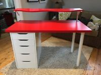 Ikea desk with shelf and separate drawer unit