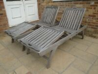 HIGH QUALITY .... LUXURY WOODEN SUN LOUNGERS WITH PULL OUT SIDE TABLES