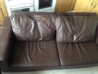 Sofa 2/3 brown vinyl/ leather