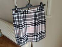 Size 8 pink and black tartan miniskirt
