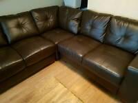 Chocolate leather corner sofa