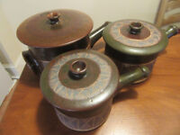Original Botswanan Pottery: 3 x pots, oven to table, perfect condition, collectors' items