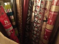 Christmas wrapping paper box of 12 NEW rolls & 16+ part used rolls FREE