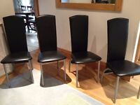 Dining Chairs x 4, modern design, faux black leather and matt chrome