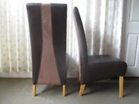 PAIR OF DINING CHAIRS BROWN FAUX LEATHER AND SUEDE MODERN HIGH BACK DINING CHAIRS