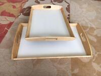 Two wooden Ikea trays