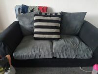 2 and 3 seater sofas grey and black .washable covers