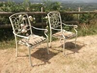 PAIR OF ORNATE GARDEN / CONSERVATORY CHAIRS