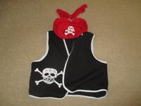 childs pirate waistcoat and bandana age 5-6yrs