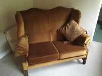 Wingback settee and chair