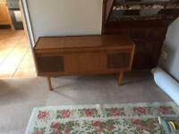 Old record player in wooden unit