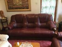 Burgundy red leather sofa 3 seater and 2 arm chairs