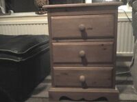 REDUCED-Rustic bedside table with three drawers solid pine