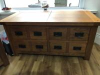 TOULOUSE STORAGE SOLID OAK COFFEE TABLE