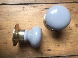 Grey mortice ceramic entrance door knobs