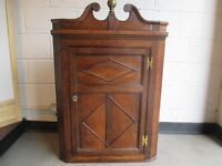 VINTAGE OAK CORNER CABINET WALL CABINET WITH TWO SHAPED SHELVES FREE DELIVERY
