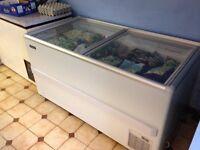 Glass top shop display freezer