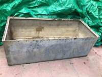 Large Victorian antique riveted galvanised Steel water trough - Garden planter or Pond Plant Pot VGC