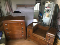 Walnut 1920s matching chest of drawers and dresser